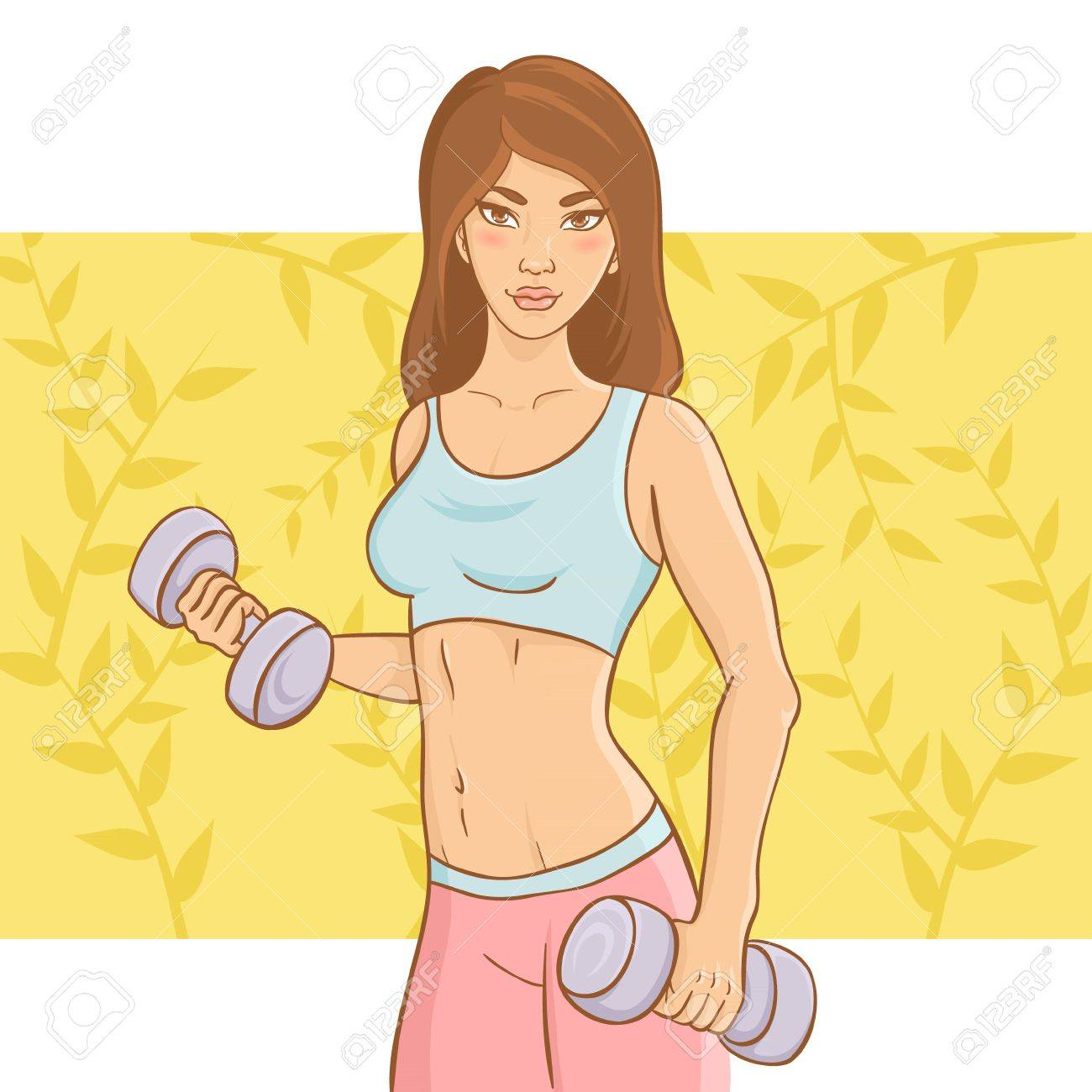 Sporty beautiful girl doing a fitness workout with dumb-bell weights on a floral background Stock Vector - 13239114