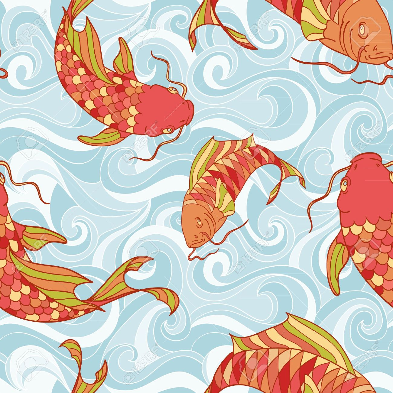 Colorful fish in the sea waves hand drawing seamless pattern Stock Vector - 13554228