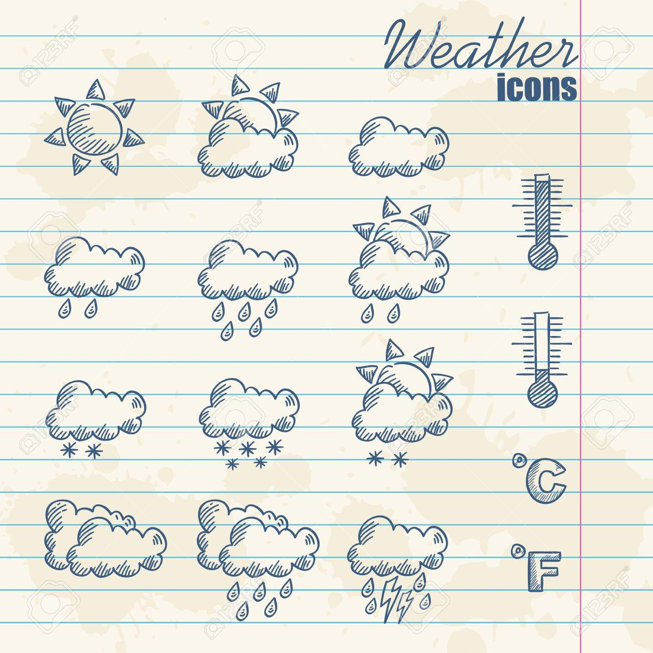 Retro weather icons hand drawn on grunge vintage background Stock Vector - 13554224