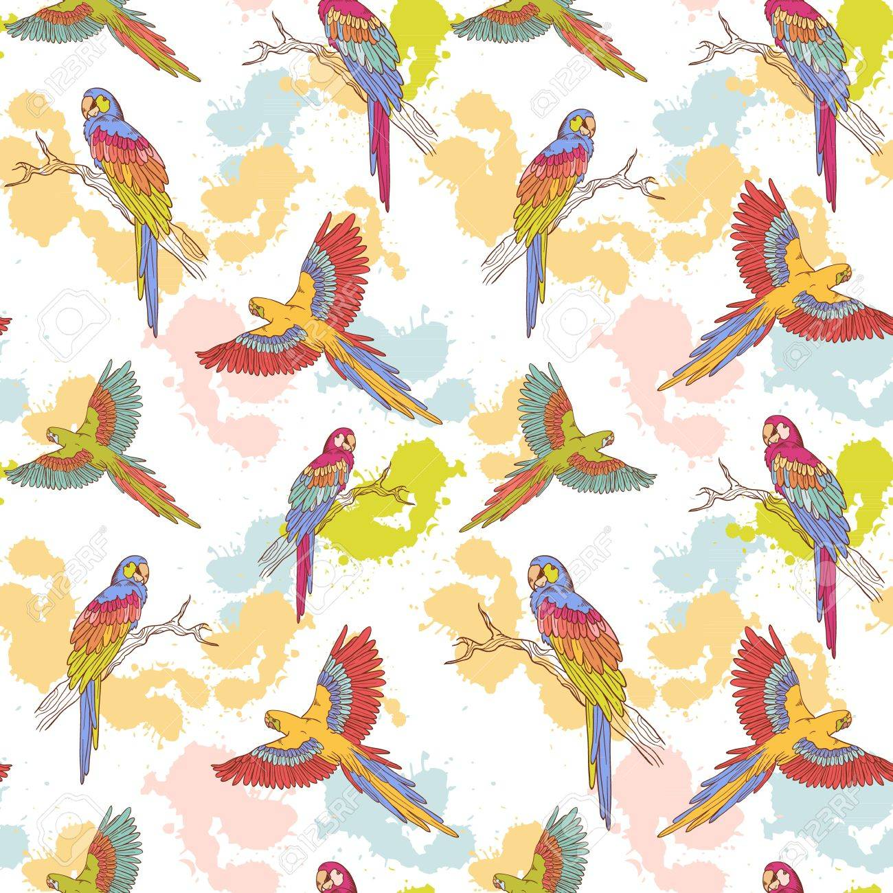 Parrot ara seamless grunge colorful pattern Stock Vector - 14653623