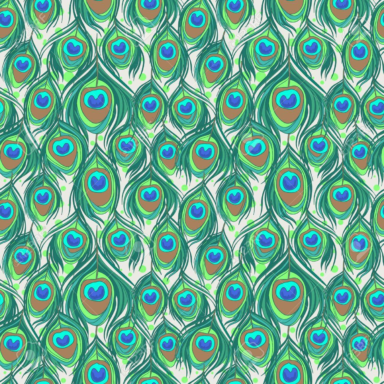colorful peacock feather seamless pattern royalty free cliparts