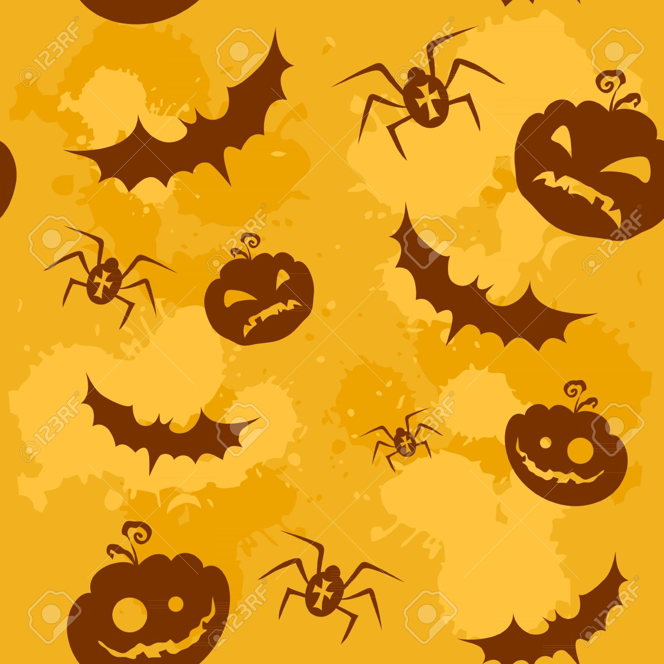 halloween pumpkins bats and spiders grungy seamless background