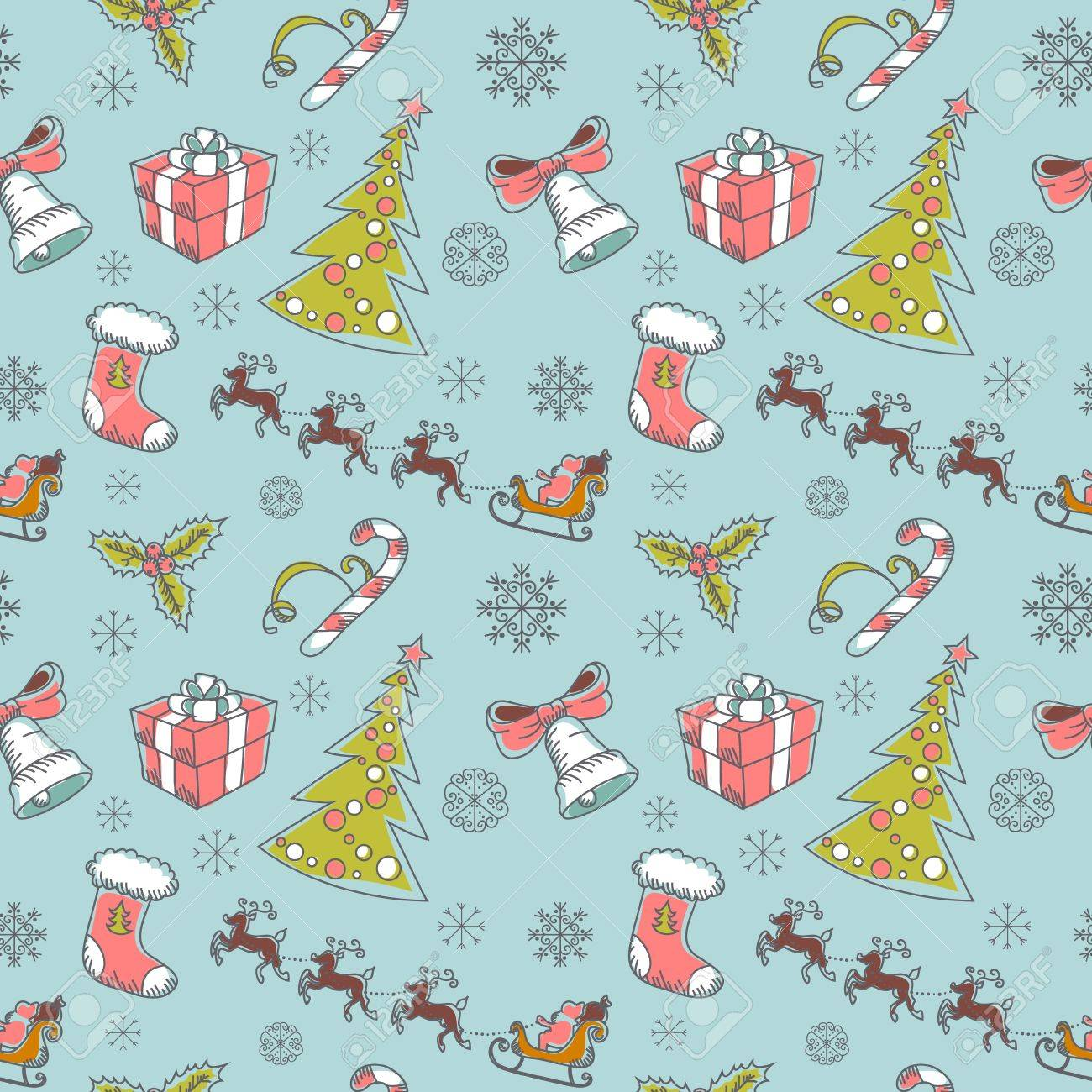 Seamless Christmas hand drawn pattern with sketch fir tree, doodle stocking, candy cane, bell, Santa Clause with deer and snowflakes Stock Vector - 15589231