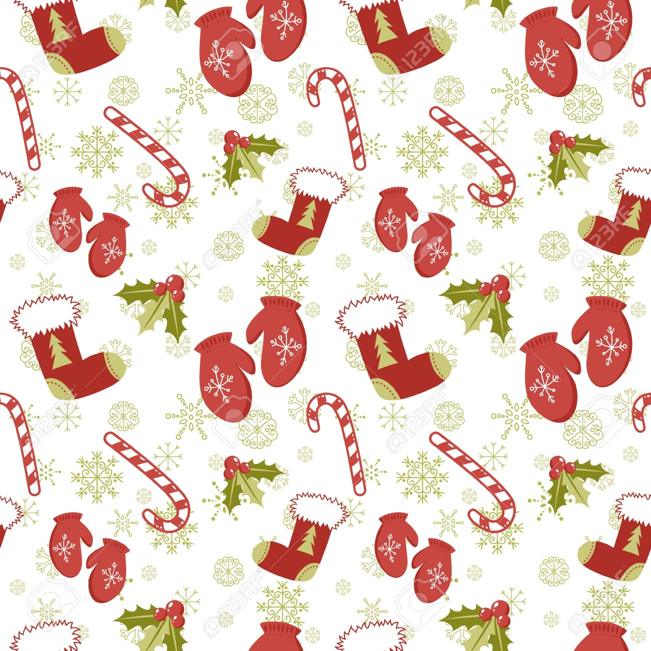 15589239 seamless pattern with cute cartoon christmas mittens candy cane holly berries and red stocking with