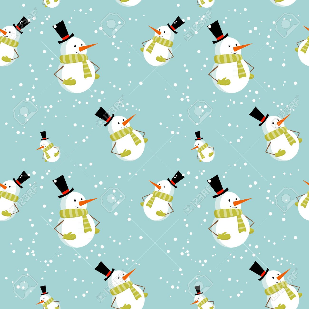 Seamless Pattern With Cute Cartoon Christmas Snowman On Snow Winter Background Stock Vector