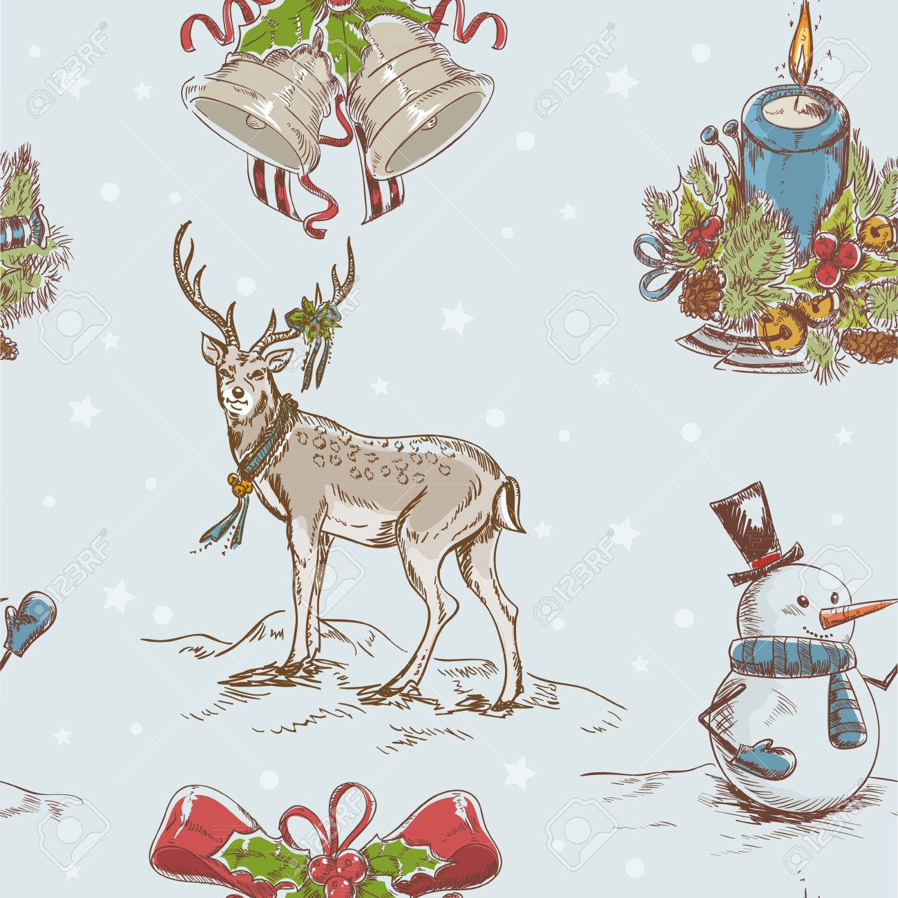 Creative seamless Christmas hand drawn texture with cute  Santa deer, jingle bells, doodle snowman and burning candle on star backdrop Stock Vector - 15589241