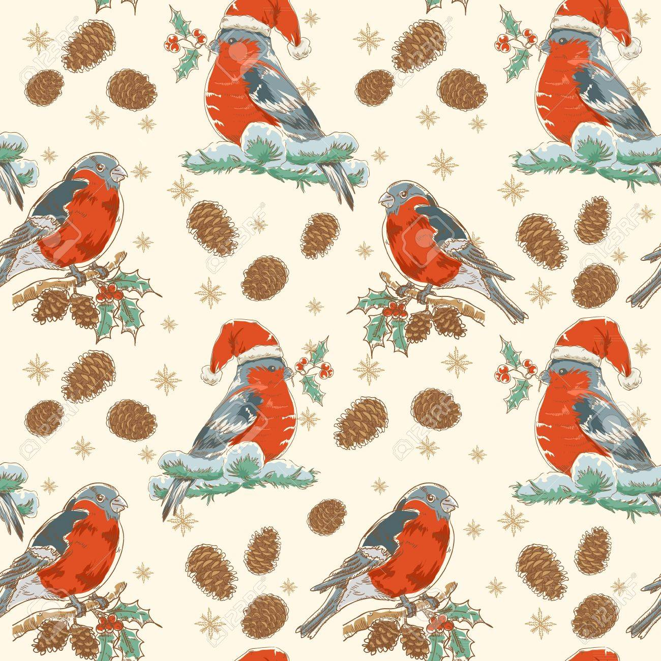 Cute Christmas hand drawn seamless retro background with bullfinch bird with red breast sitting on a tree with holly berries and fir cones Stock Vector - 16234168