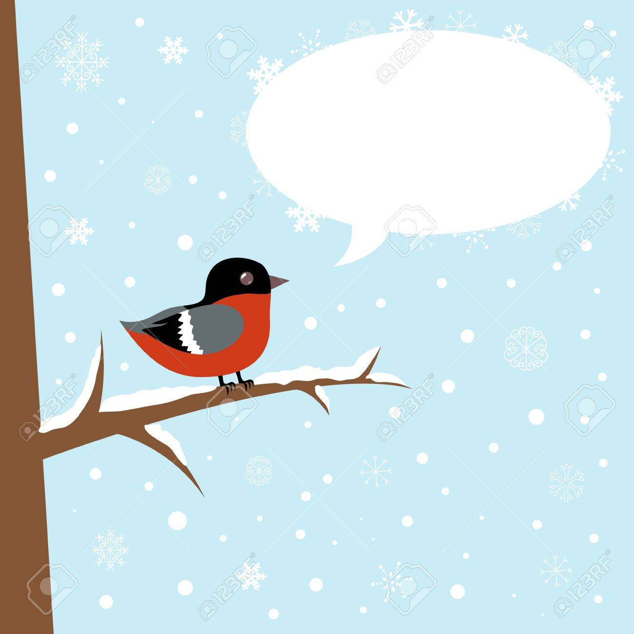 Cute winter bullfinch bird sitting on a branch with speech bubble Stock Vector - 16234172