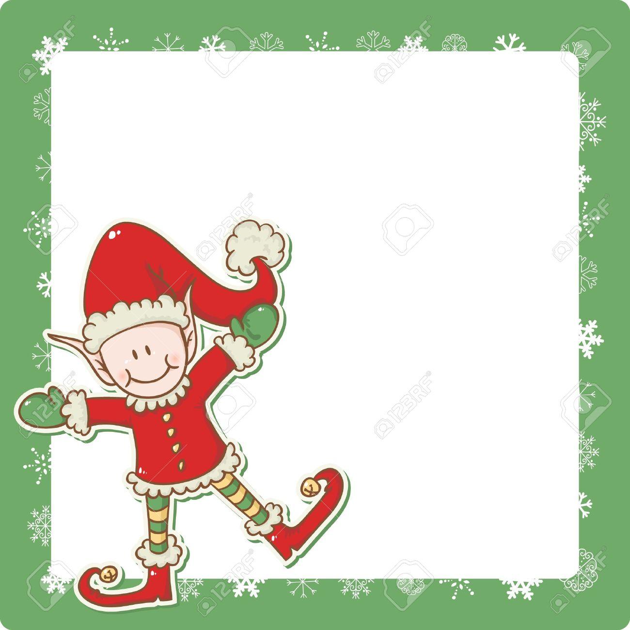 christmas card with cute little elf santa helper royalty free