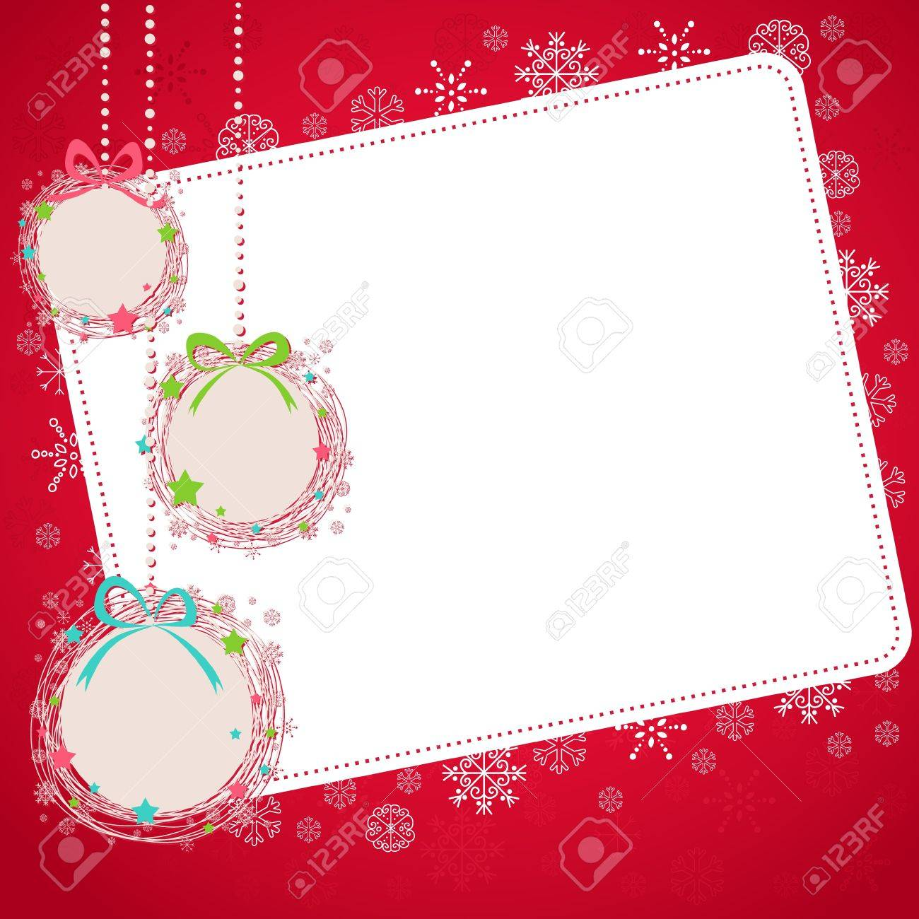 Cute Hand drawn Christmas ball toys card with snowflakes Stock Vector - 16424340
