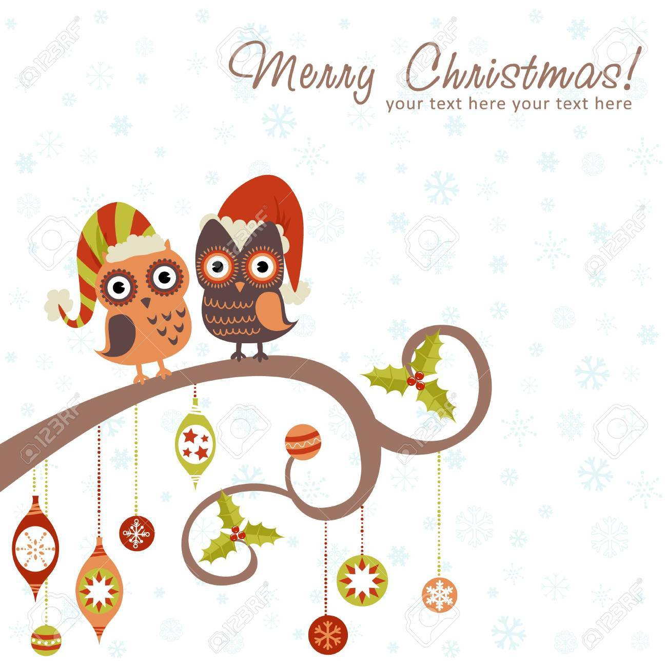 Cute winter Christmas card of owls in hats sitting on a tree branch with ball toys Stock Vector - 16424307