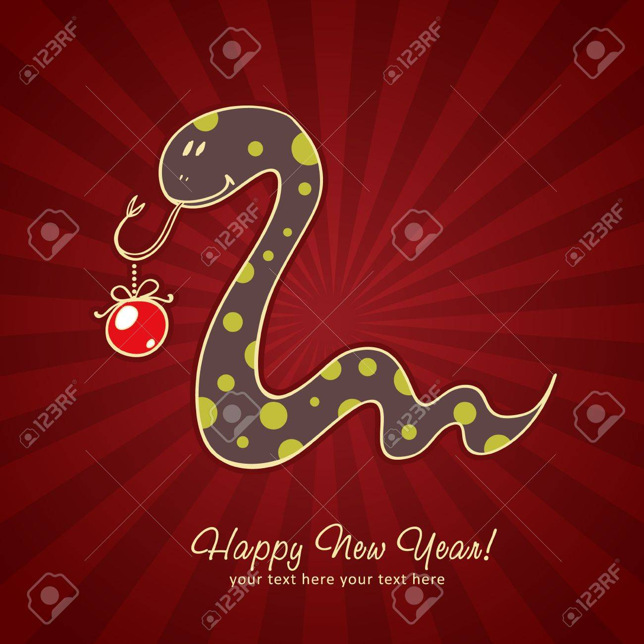 Cute New Year chinese black snake holding a toy ball Stock Vector - 16424296
