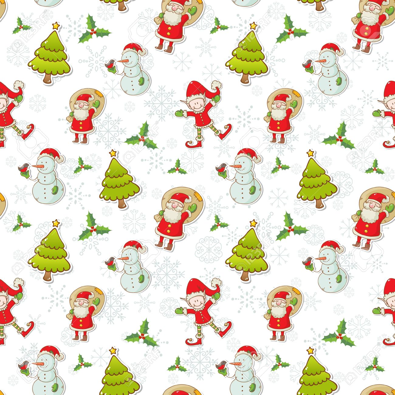 Christmas cartoon characters seamless pattern with Santa Claus, elf and snowman on winter snowflakes background Stock Vector - 16469770