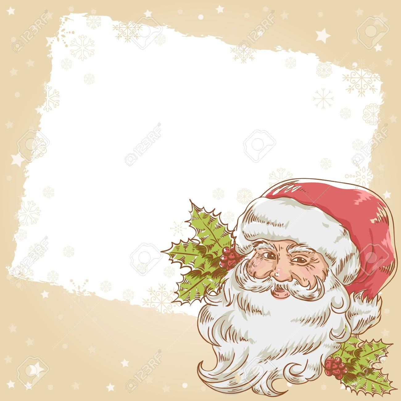 Christmas hand drawn retro postcard with cute smiling Santa Claus and holly plant Stock Vector - 16548351