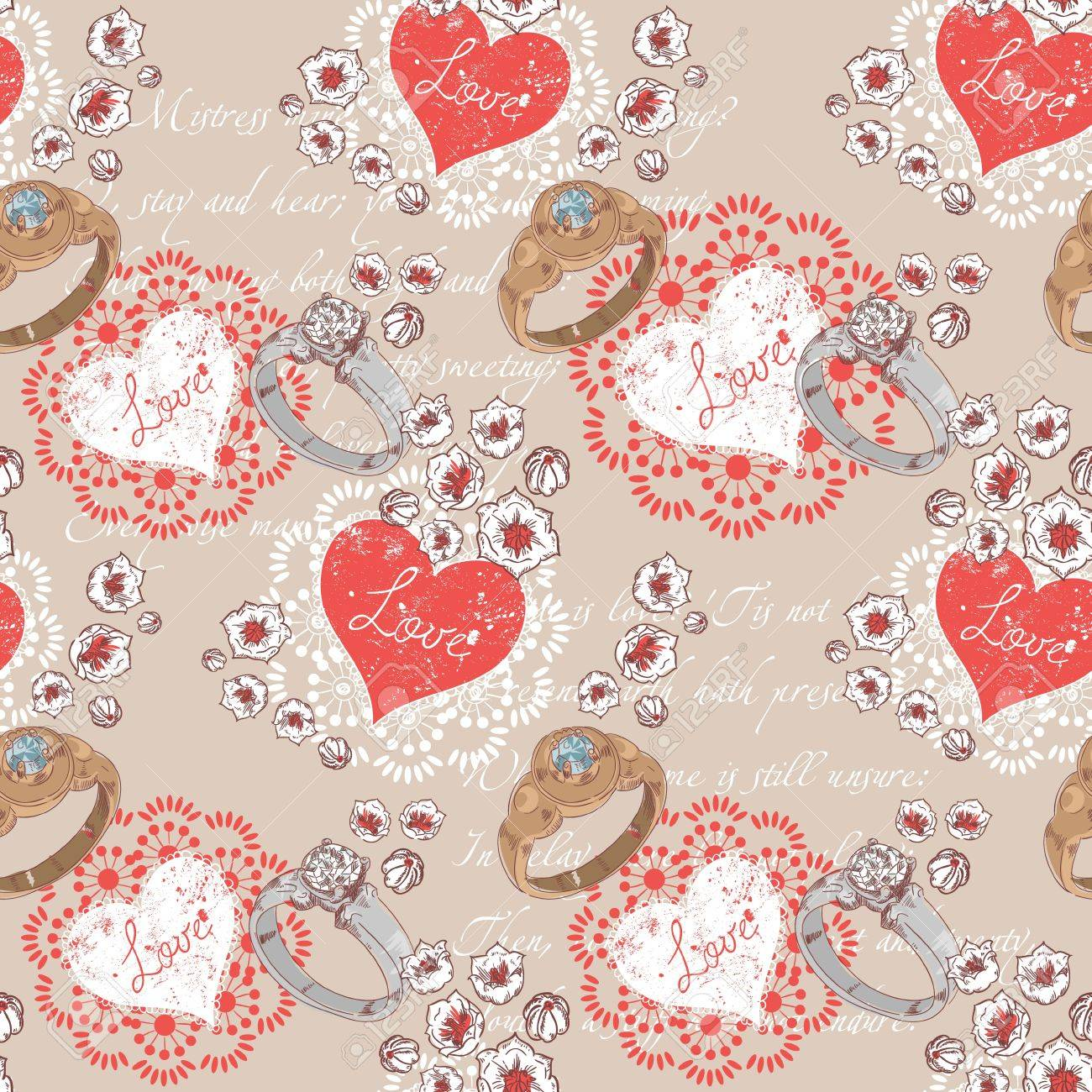 Valentine romantic retro seamless pattern with wedding rings and hearts on a verse italic text background Stock Vector - 16988783