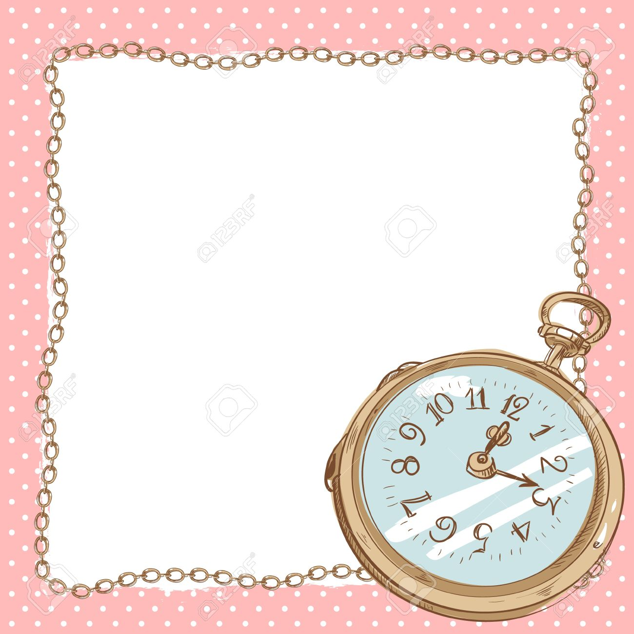 Lovely romantic postcard with ancient pocket watch with vintage lovely romantic postcard with ancient pocket watch with vintage chain border with blank space for text jeuxipadfo Image collections