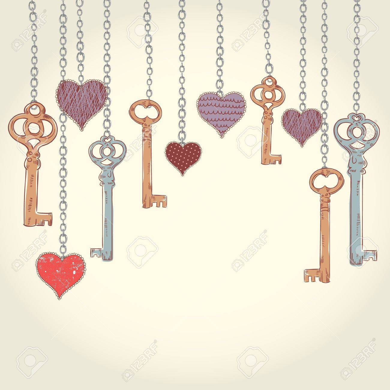 Romantic valentine invitation card with keys and hearts hanging romantic valentine invitation card with keys and hearts hanging on chains and empty place for text stopboris Gallery