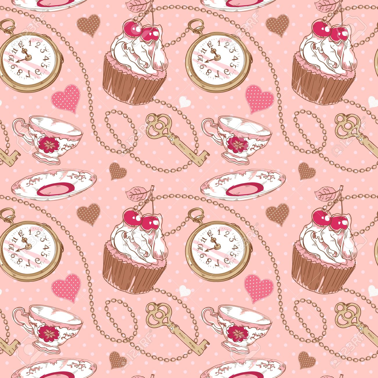 Romantic Love Vintage Pattern With Hearts Cupcake Cup Of Tea Clock Key