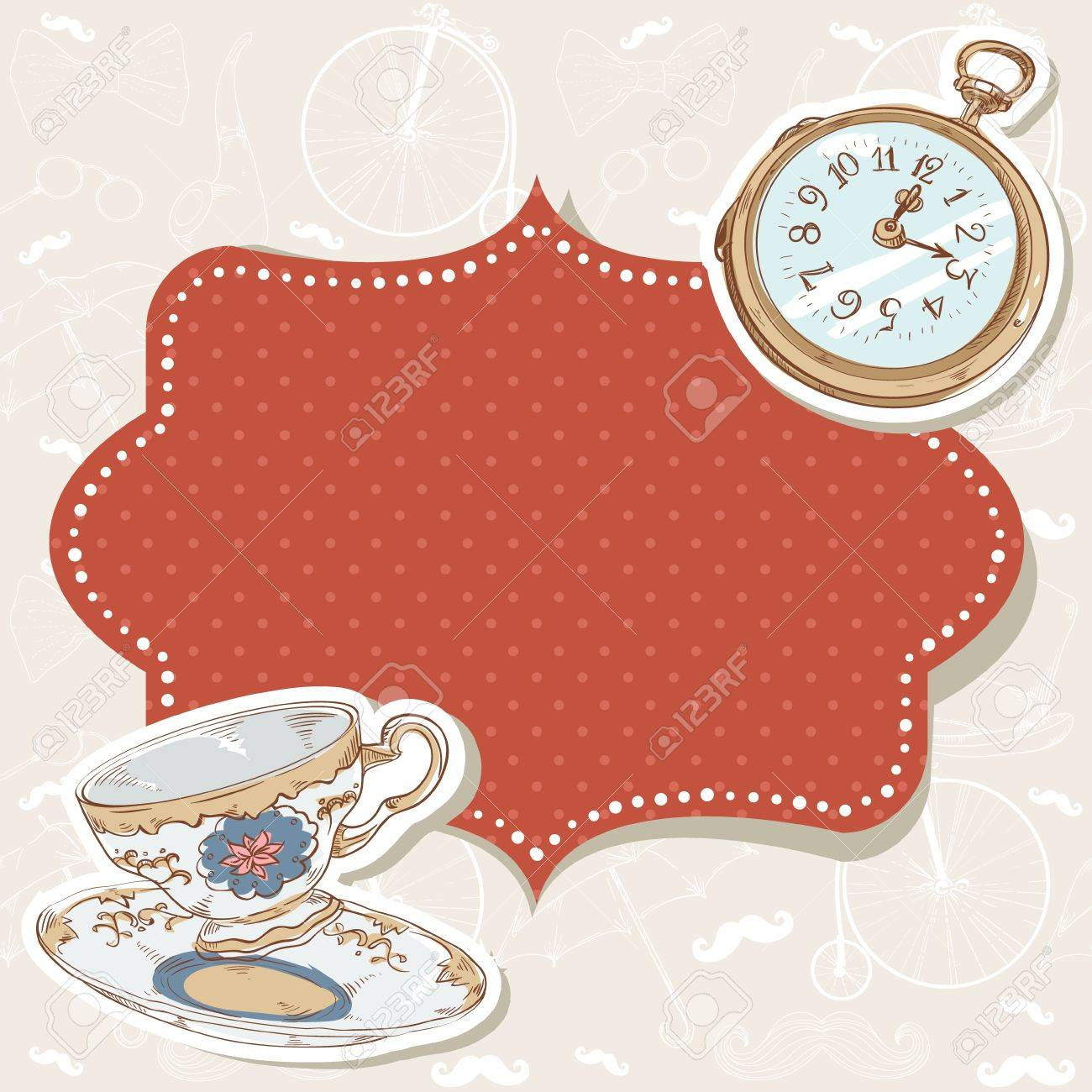Romantic vintage invitation postcard with polka dot sticker, clock and cup on retro background Stock Vector - 17438000