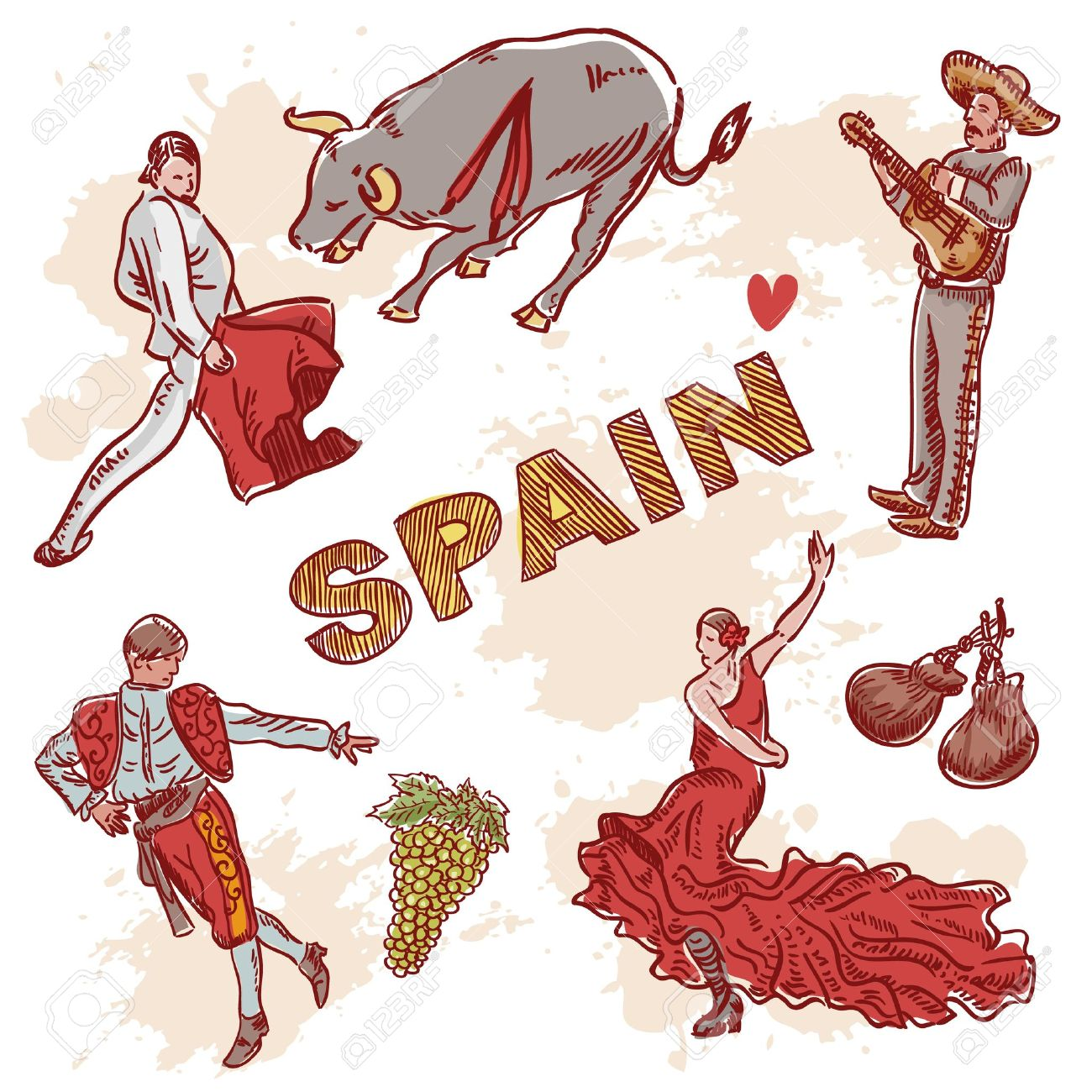 Set Of Spanish Symbols And Traditional Clipart For Travelling