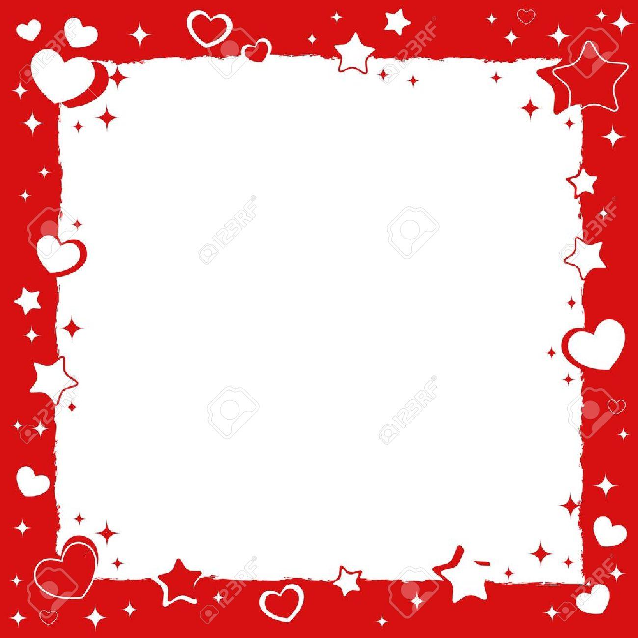 Valentine Love Marco Romántico Con Corazones Y Estrellas ...