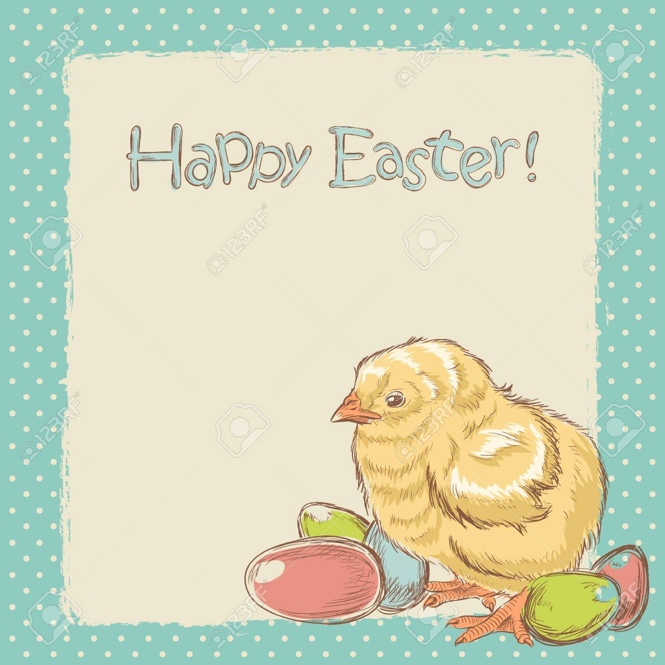 Easter vintage hand drawn card with cute little chicken and colored eggs Stock Vector - 17550722
