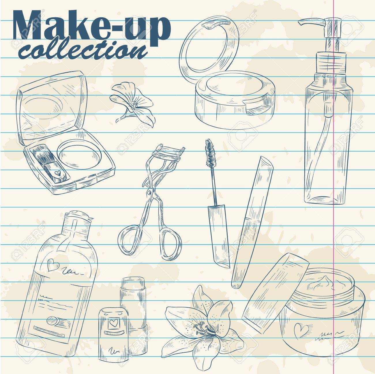 Set of make-up object cute girl collection hand drawn lineart on notebook paper background Stock Vector - 17902469
