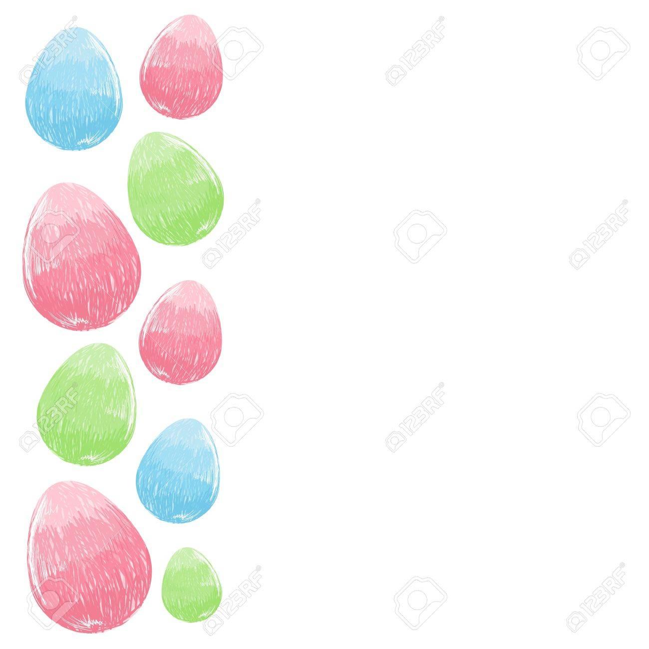 Mano Alzada Diseño Dibujado Pascua Marco De La Frontera Huevos ...