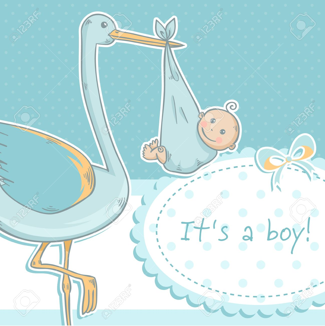 Cute Baby Boy Announcement Card With Stork And Child On Polka ...