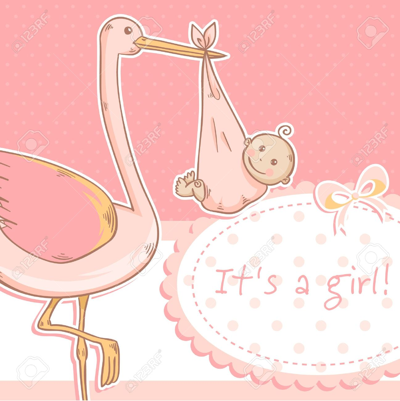 cute baby girl announcement card with stork and child on polka