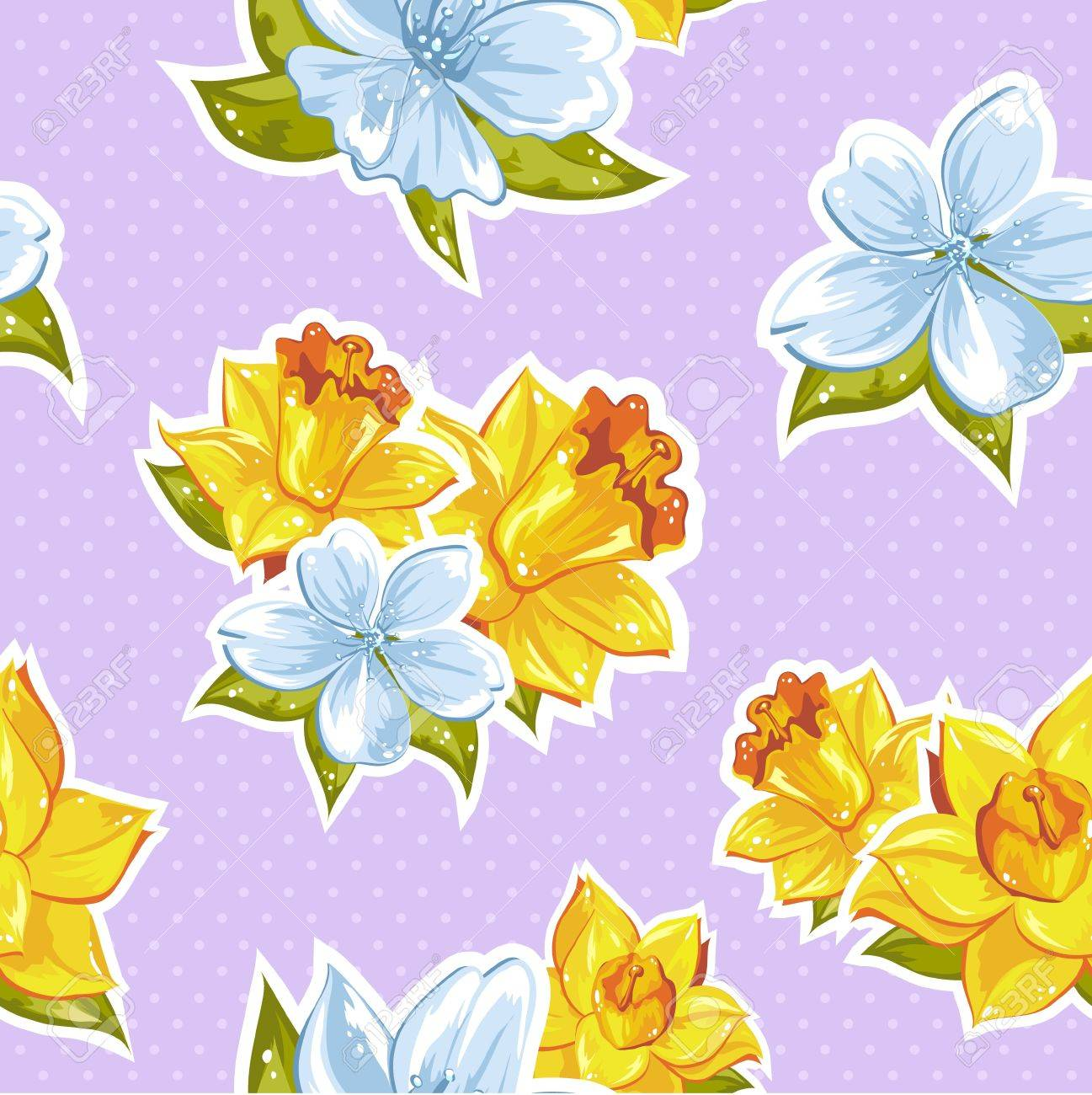 Elegant stylish spring floral seamless pattern with dots and lineart Stock Vector - 18538247