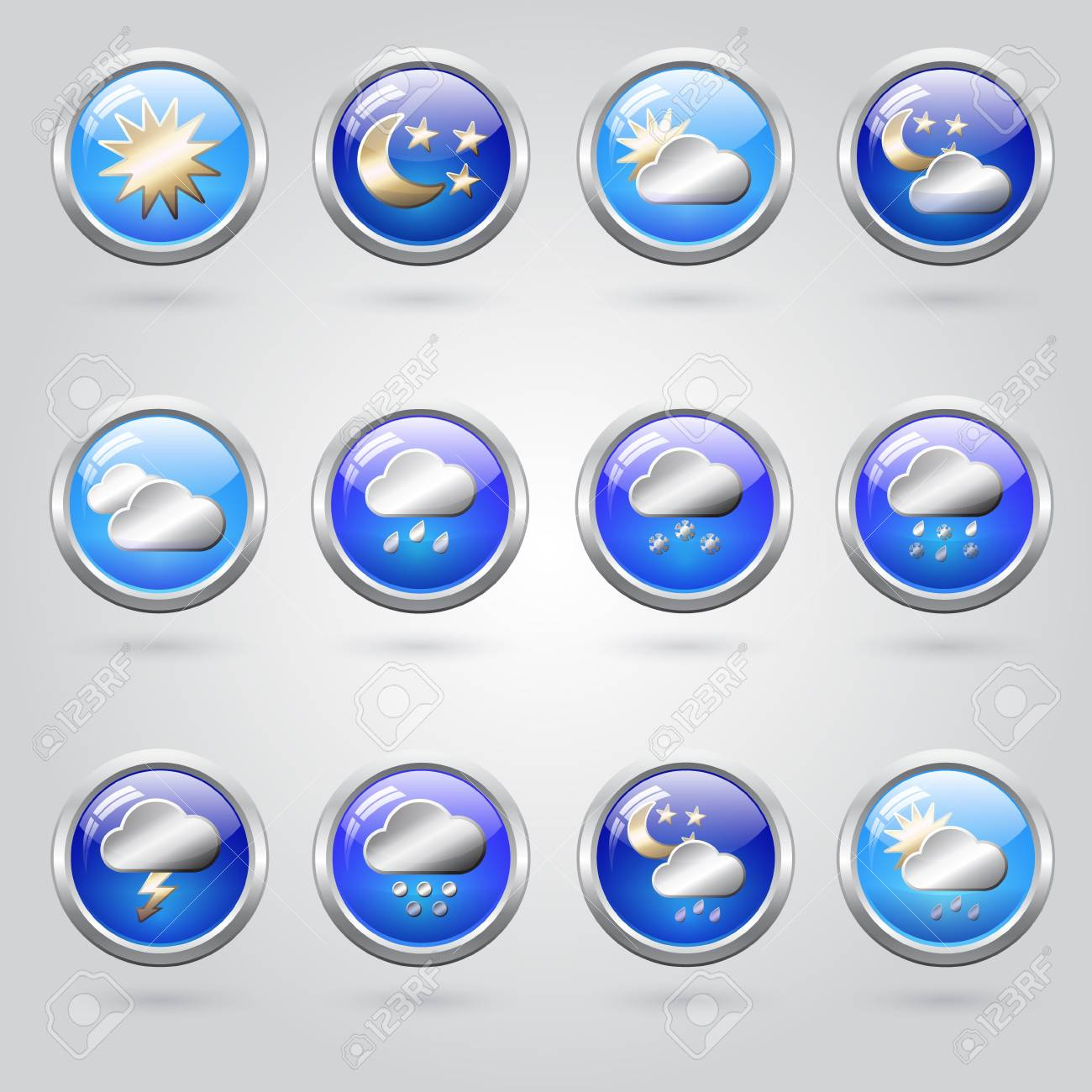 Set of stylish weather icon buttons for web Stock Vector - 19313424