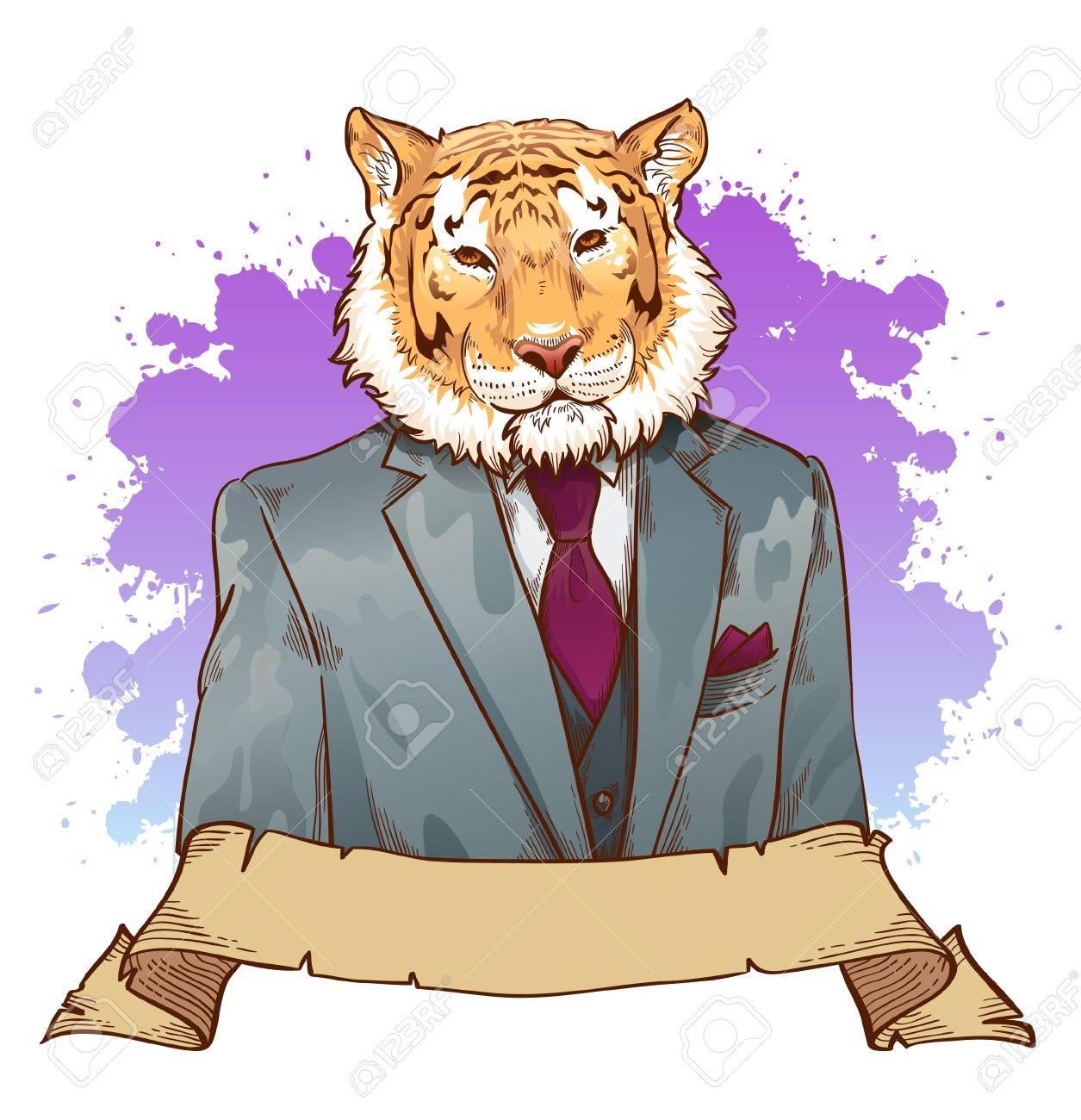 Tigre De Bande Dessinee Realiste Portant Un Dessin De Fantaisie