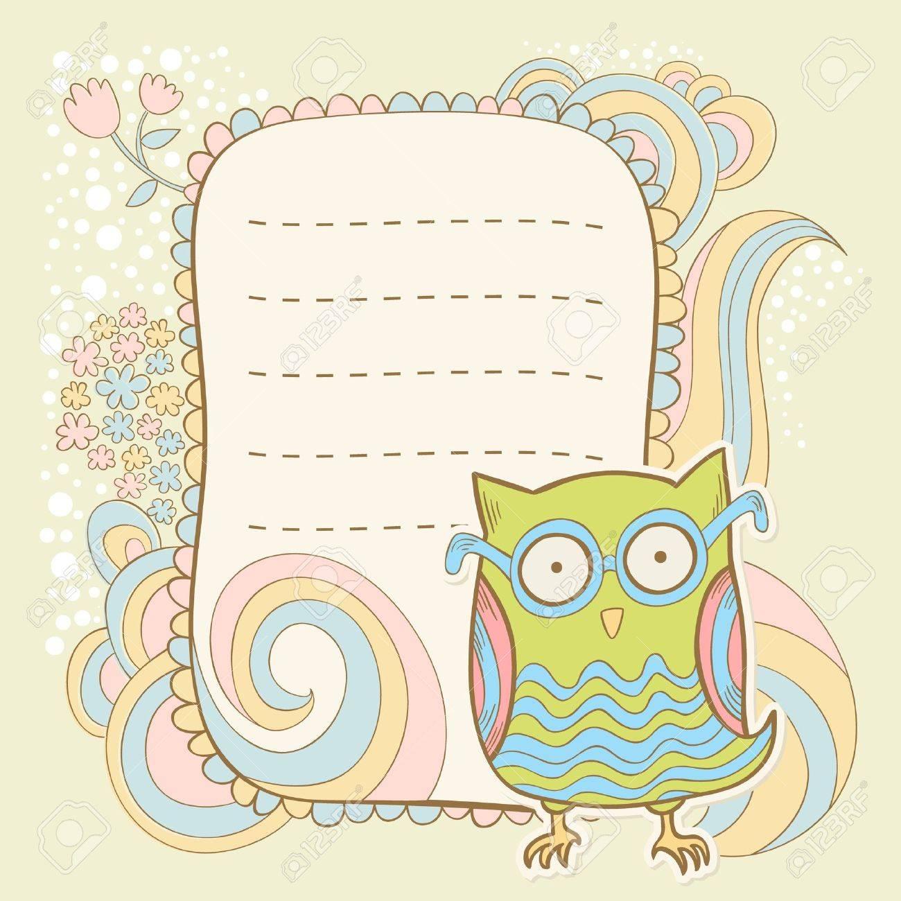Cute cartoon owl stylish invitation floral colorful sticker card cute cartoon owl stylish invitation floral colorful sticker card stock vector 19896740 stopboris Choice Image