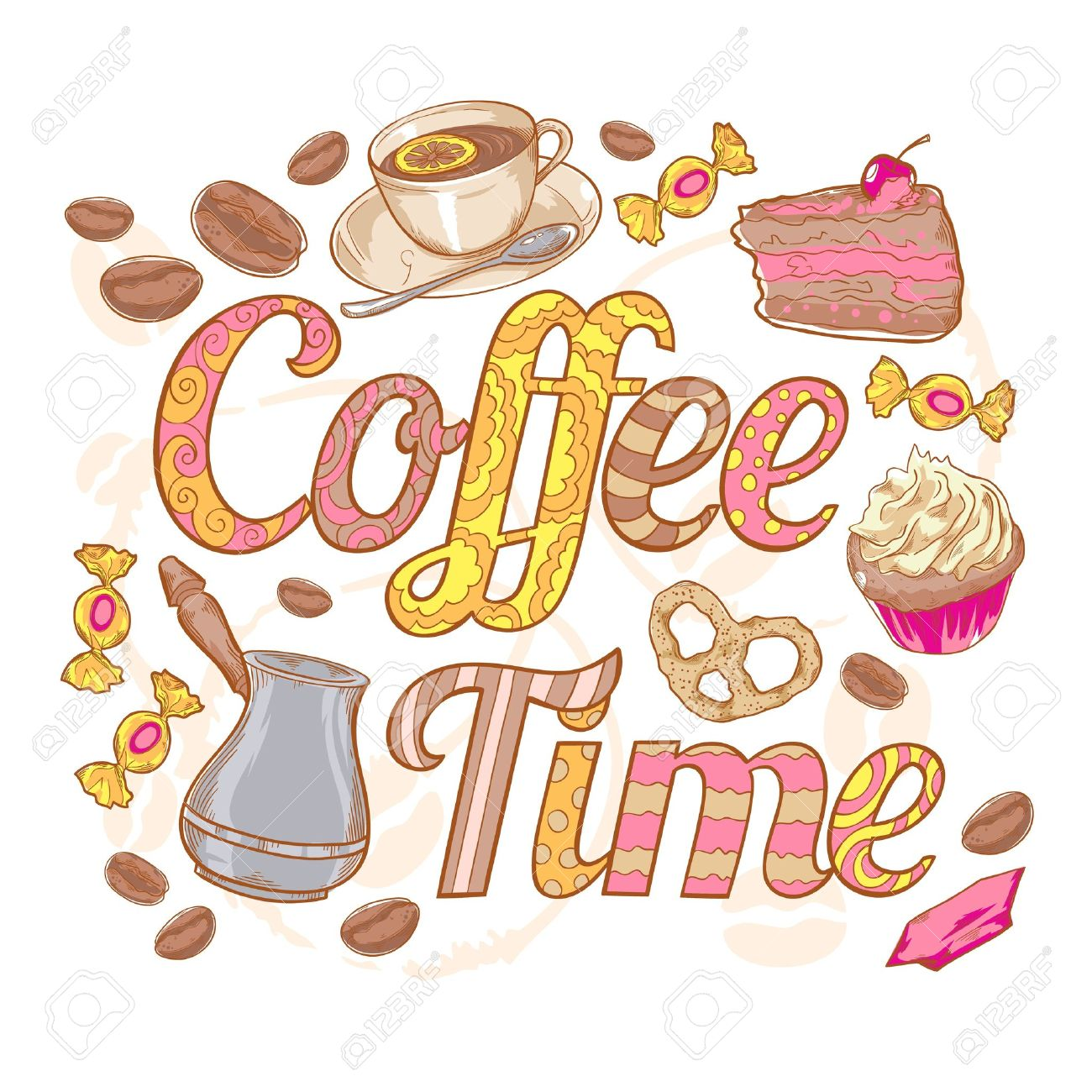 Coffee time colorful invitation card with sweets, beans and swirl font - 20107247
