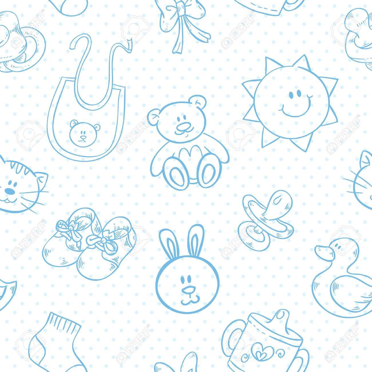 139ee72f1 Baby toys cute cartoon set on polka dot seamless pattern Stock Vector -  20107393