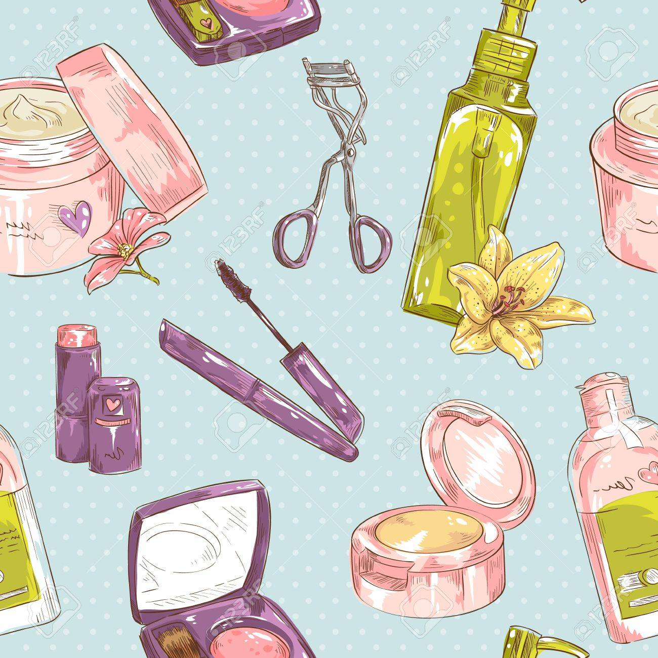 Set of make-up object cute girl collection seamless texture Stock Vector - 20107404