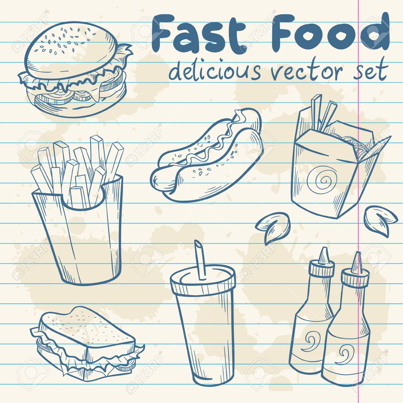hot dog fastfood delicious hand drawn vector set with burger hot dog and french