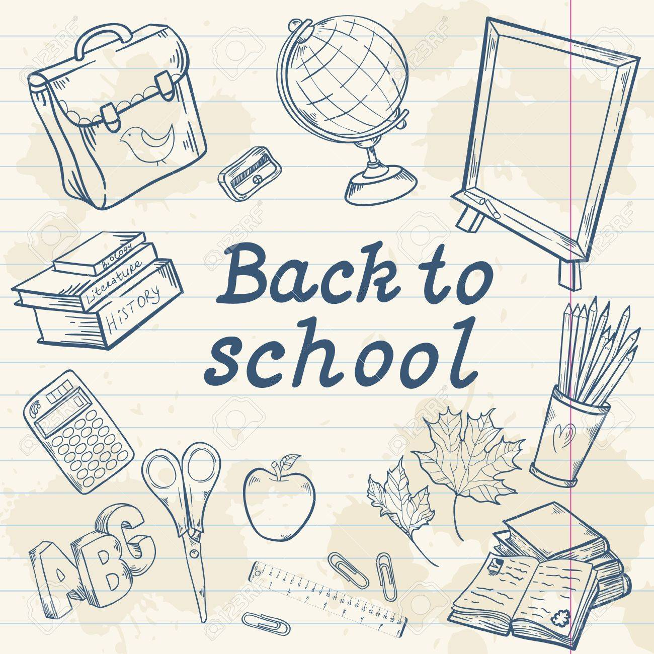 Back to school collection with various study items in cartoon hand drawn style - 21078431
