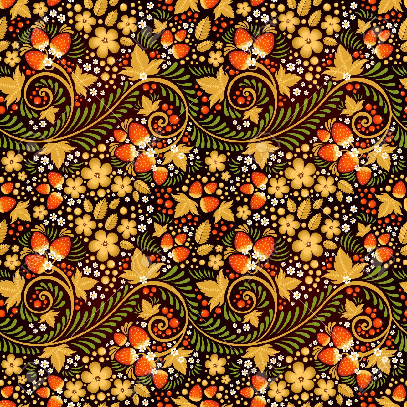 Festive khokhloma seamless pattern with traditional floral elements - berries and leaves - 24233362