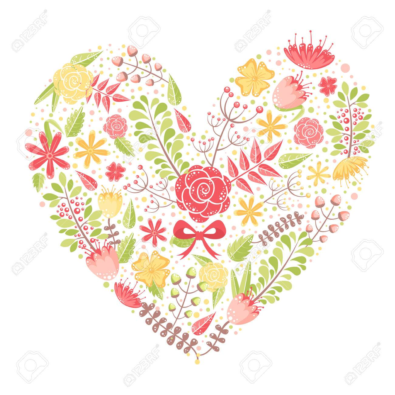 Beautiful flower heart postcard made of various floral elements with love - 24505378