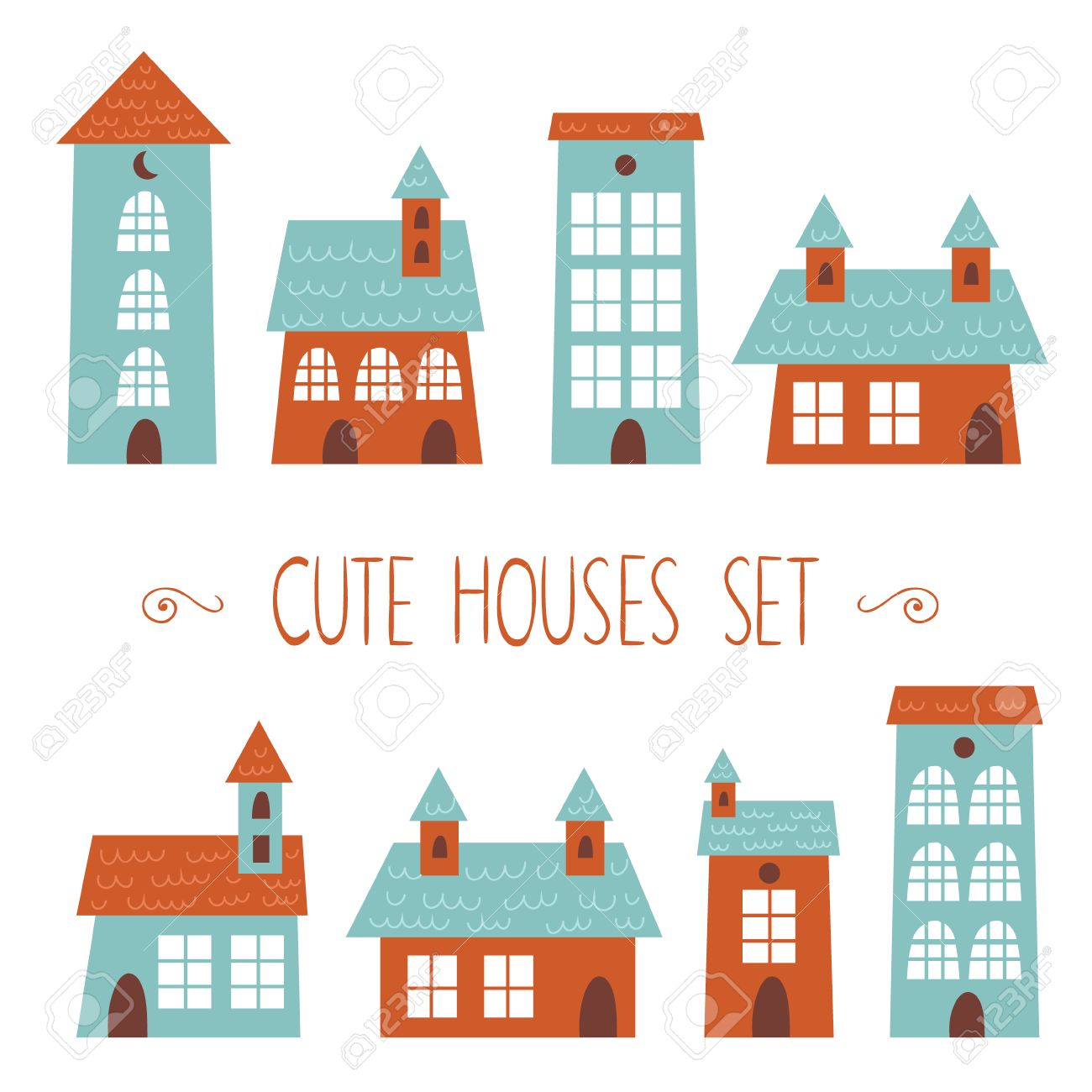 Set of cute houses hand drawn cartoon kids style stock vector 26161865
