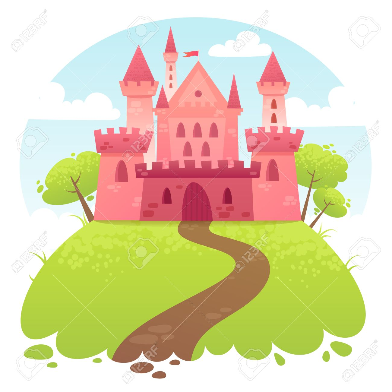 Cute cartoon vector medieval castle with fortress and set of towers Stock Vector - 29262768