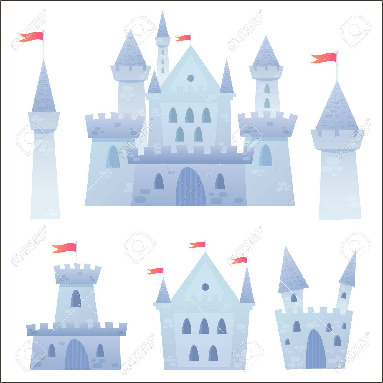 Cute cartoon vector medieval castle with fortress and set of towers - 29262770