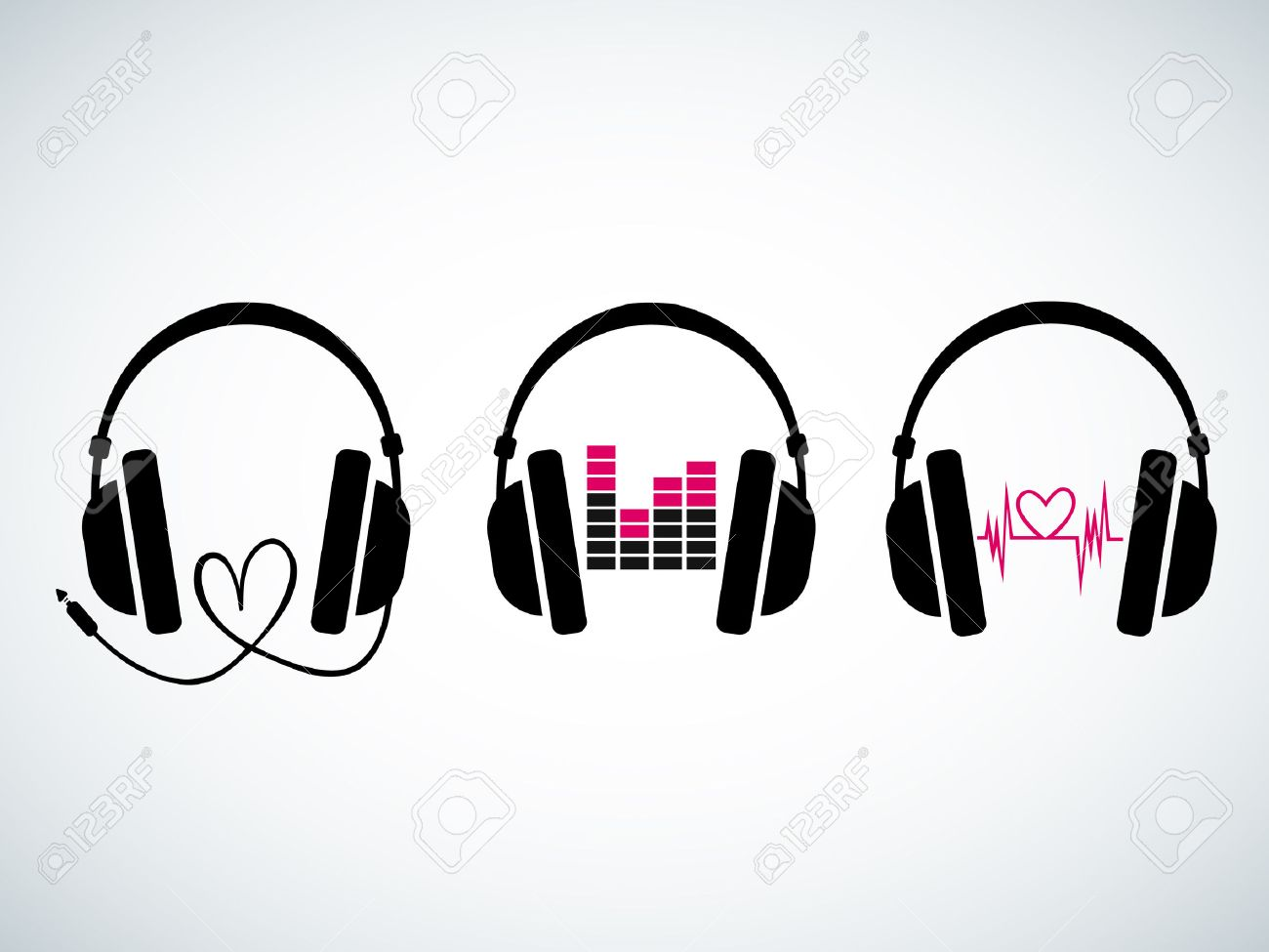 Creative music headphones set with heartbeat and equalizer - 29263488