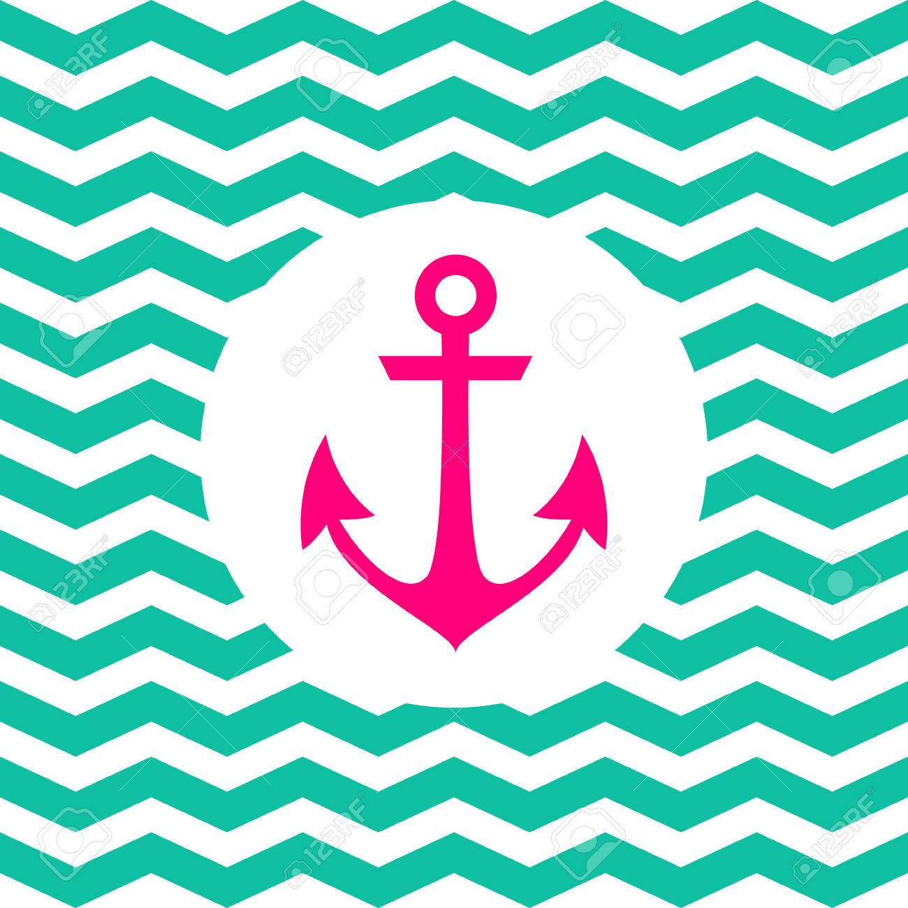 Simple geometric nautical card with anchor on zigzag background simple geometric nautical card with anchor on zigzag background for invitation stock vector 30026622 stopboris Choice Image