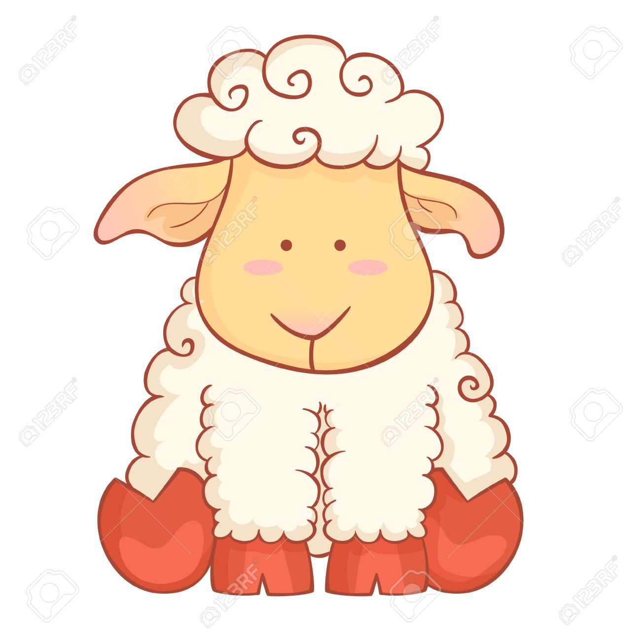 Cute Cartoon Baby Sheep Character Of Chinese New Year Symbol ... for cute animated sheep  186ref