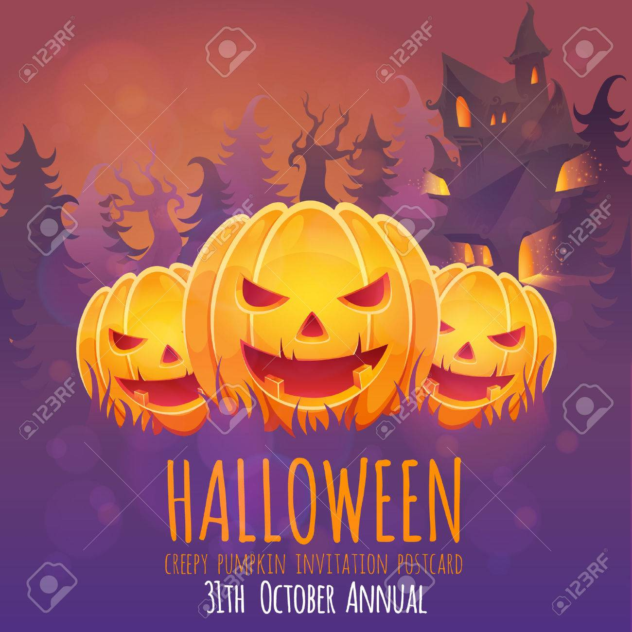 creepy dark halloween invitation card with scary pumpkin smiling