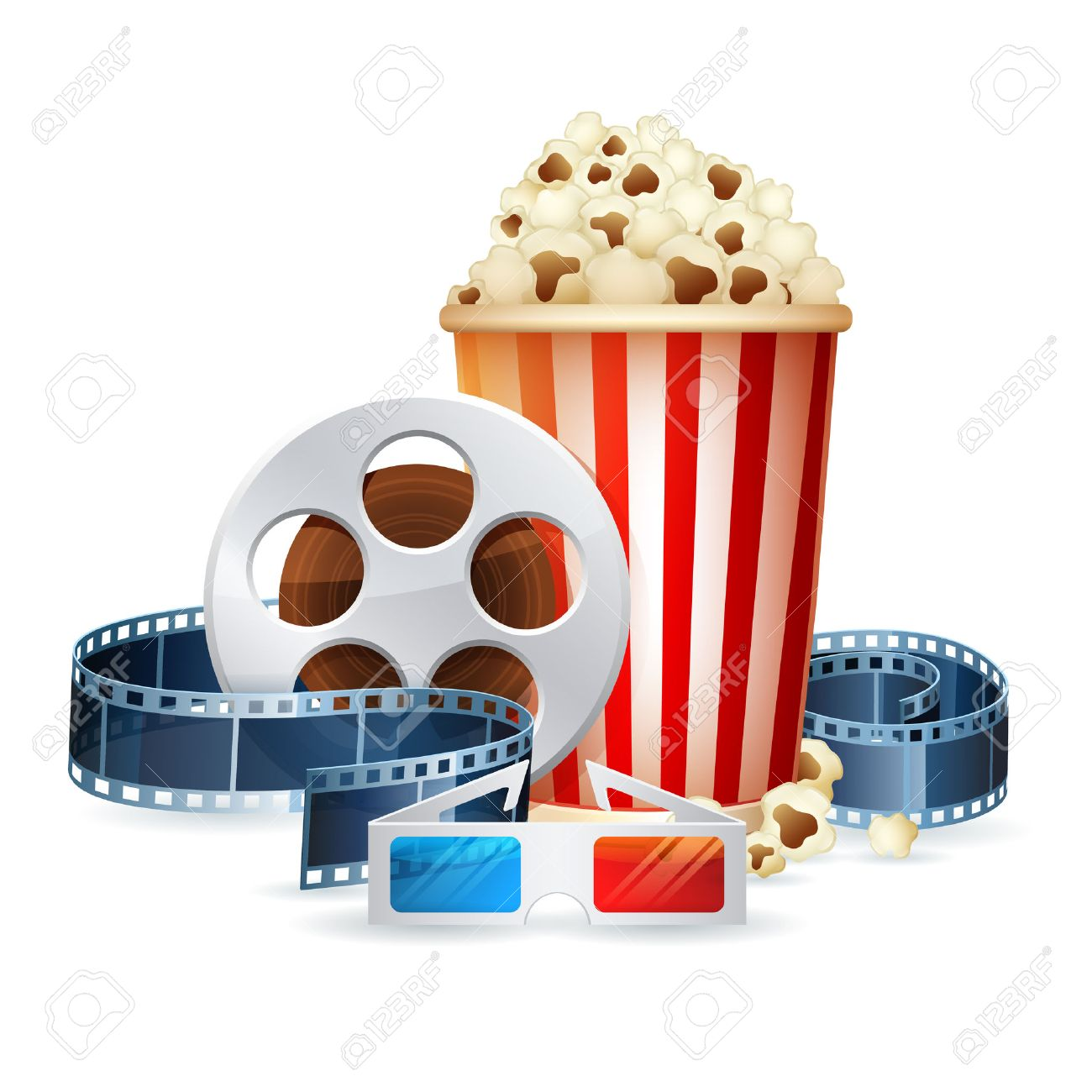 Cinema and movie realistic objects isolated on white, film reel, clapper, popcorn, 3D glasses detailed vector illustration - 39386041