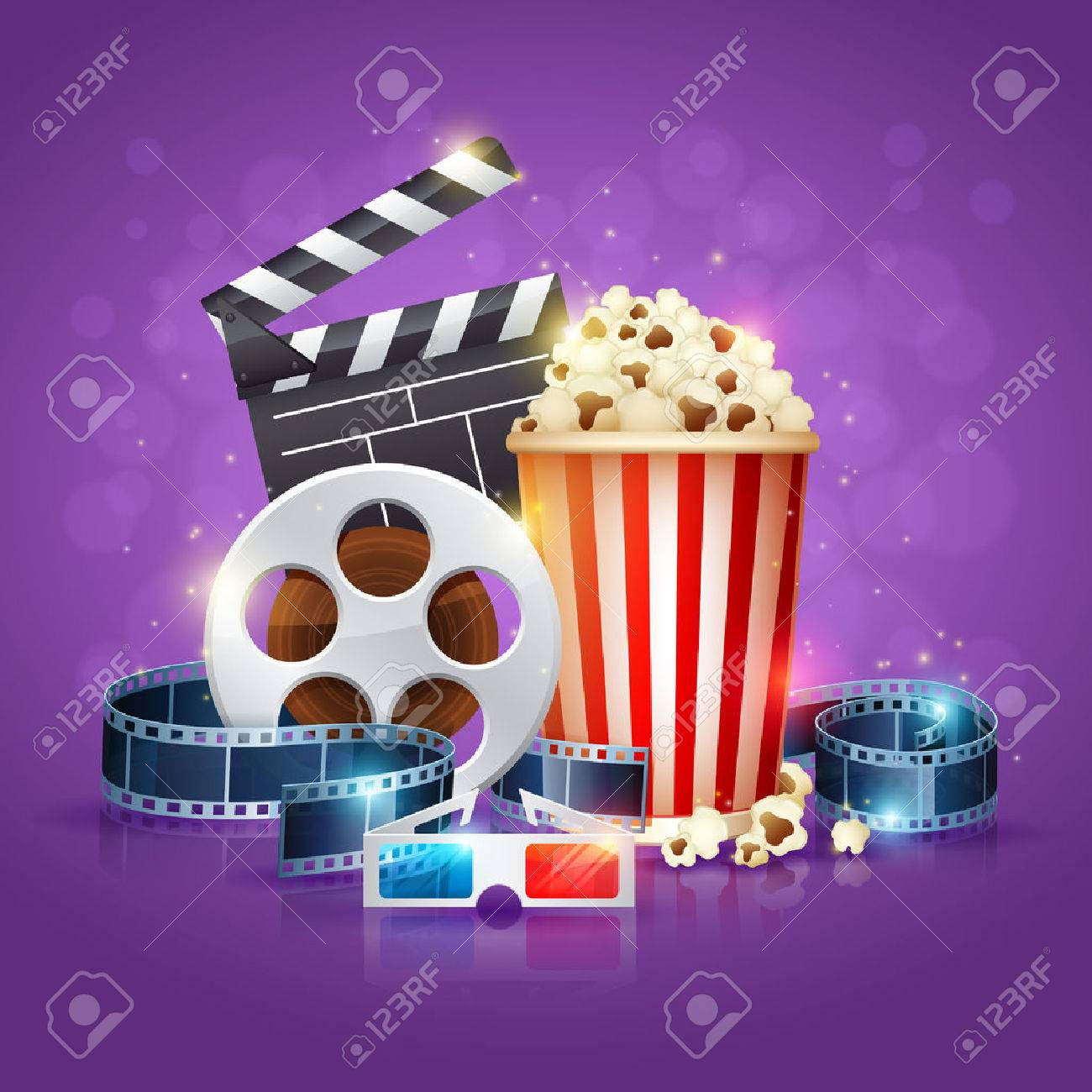 Realistic cinema movie poster template with film reel, clapper, popcorn, 3D glasses, conceptbanners with bokeh - 39386245